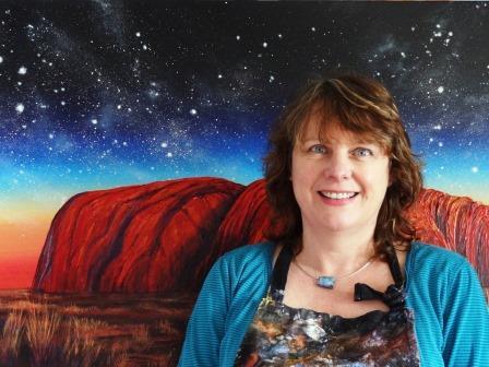 Ayers Rock painting with artist Linda MacAulay