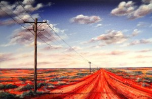 Painting of outback road and clouds
