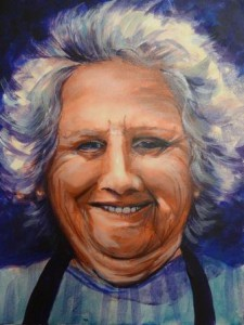 painting of smiling lady