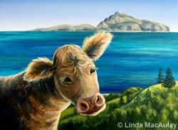 Quirky cow by the sea