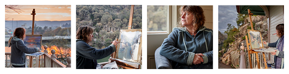 Artist Linda MacAulay painting at Cataract Gorge in Tasmania