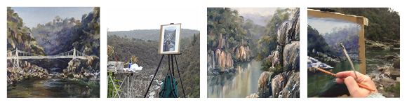 Photos of artist Linda macAulay painting in Tasmania