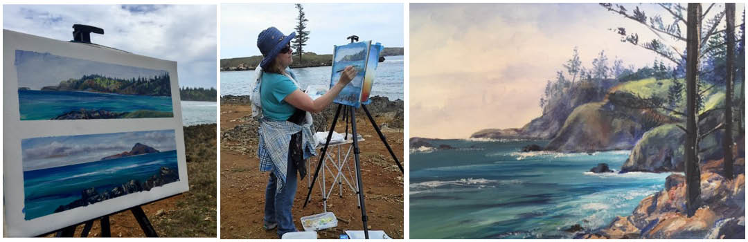 Artist wit easel on Norfolk Island