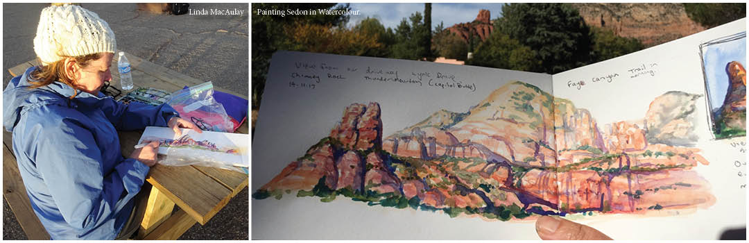 Watercolor travel diary by Linda MacAuley from Sedon