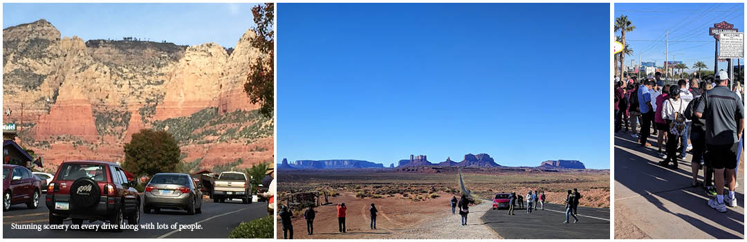 tourists on the road at the forest gump spot in Monument valley,