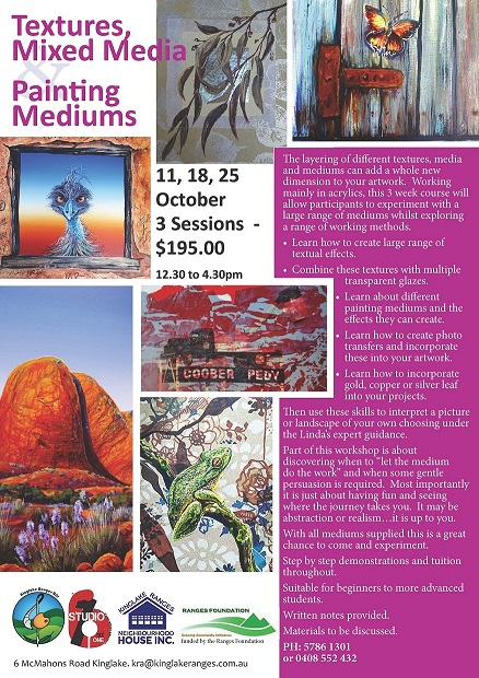 mixed media painting workshop with Linda macaulay at Kinglake