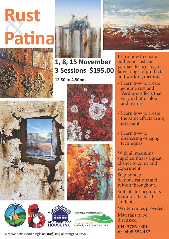 Rust and Patina painting workshops with Linda MacAulay